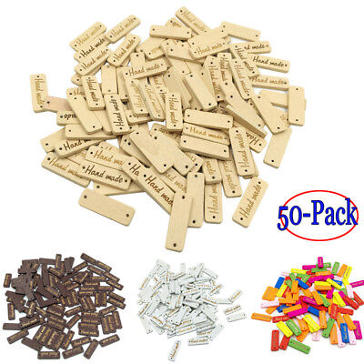50pcs Wood color Wooden 'Hand made' Lettering 2-hole sewing Scrapbooking 30mm