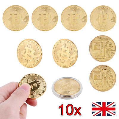 10x Bitcoin Commemorative Round Collectors Coin Bit Coin is Gold Plated Coin UK
