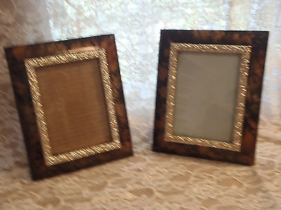 Two  Matching Vintage Shabby Ornate Rose Metal Picture Frames  5 X 7 's  3-37