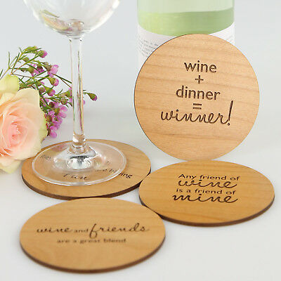 Engraved Gift Boxed Wooden Set of 4 Wine Lovers Coasters, Cute, Fun gift for her