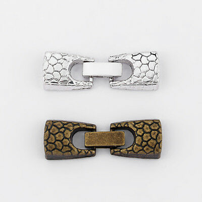 5Sets Antique Silver/Bronze Snake Pattern Snap Clasp For 5mm 10mm Flat Leather