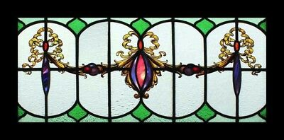 Stunning Painted Rare Painted Rococo Beauty Antique English Stained Glass Window