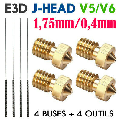 Lot x4 Buse 0.4mm pour Extrudeur E3D V4/V5/V6 Kraken J-head 1.75mm Imprimante 3D