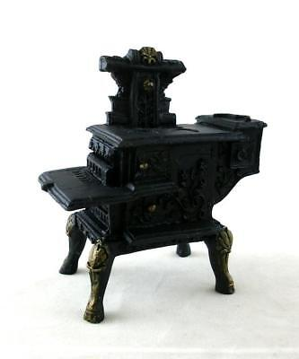 Melody Jane Dolls House Miniature Kitchen Furniture Black Resin Wood Stove