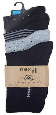 NEXT Mens socks  5 pack black and grey NEW UK 6 - 8.5 &  9 -11 school work boys