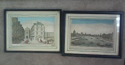 Antique late 18th C Hand Tinted Etchings Lithograph Early Prints of Paris