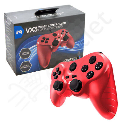 Genuine Gioteck VX3 Wired Playstation 3 PS3 Controller - Red BRAND NEW