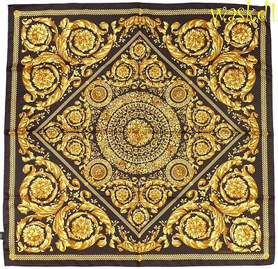 "VERSACE black Baroque MEDUSA floral Wreath Scroll 35""-square Silk scarf NWT Auth"