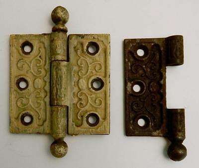 Antique Victorian Eastlake Ornate Cast Iron Cannonball Door Hinge and Half