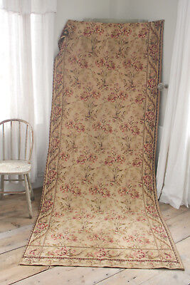 Antique French Tapestry panel fabric Floral Vintage ~ heavy upholstery curtain