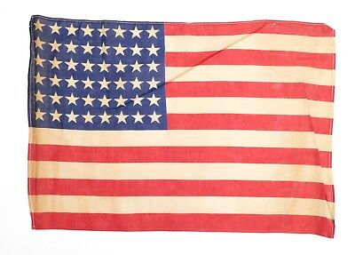 """Antique 48 STAR US FLAG WWII Era Correct Small 11"""" x 16"""" (Stains, Holes) 1224-24"""