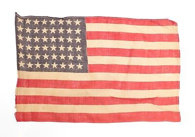 """Antique 48 STAR US FLAG WWII Era Correct Small 9"""" x13.5"""" (Stains, Holes) 1224-22"""