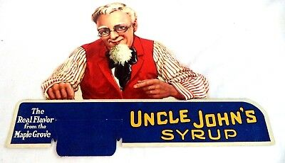 *rare* Vintage Estate Uncle John's Maple Syrup Advertising Cardboard Sign!!!