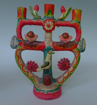 """Vintage ceramic Mexican tree of life attrib to Flores family of Puebla 11 1/4"""" T"""