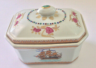Antique Armorial Qing Chinese Export Porcelain Tureen Sailing Ship Design