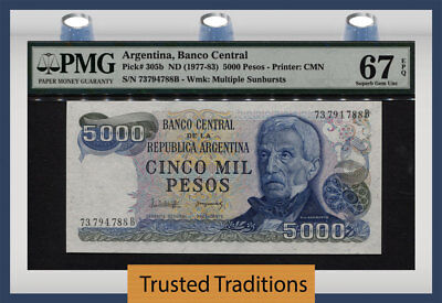 TT PK 305b 1977-83 ARGENTINA 5000 PESOS PMG 67 EPQ SUPERB GEM UNC FINEST KNOWN