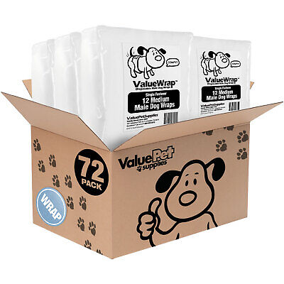ValueWrap Disposable 1-Tab Male Wraps for Dogs, Medium 72ct (6x12ct)