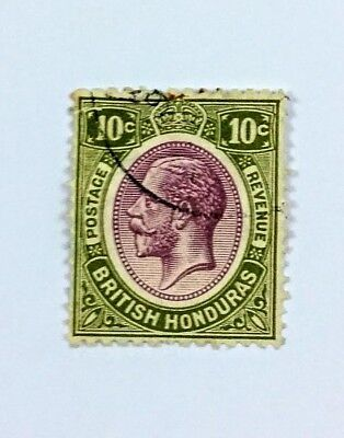 British Honduras~98~King George V~10 cent~used~hinged~partial cxl~impressexpress