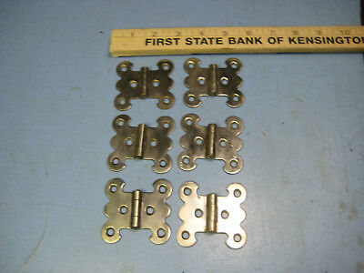 Fancy Vintage Cabinet or Strong Box Hinges by Stanley, Stainless Steel, set of 6