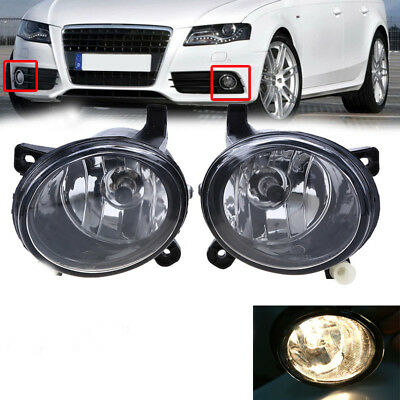 One Pair Front Fog Light Lamp Clear Housing Bulbs For 2008-2012 Audi A4 B8 Q5