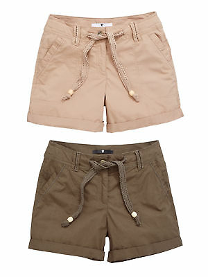 V By Very Pack Of Two Shorts In Khaki / Stone Size 14
