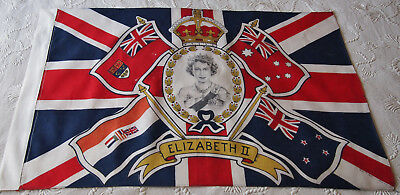 Original 1953 Royal Vintage British Union Jack Flag (Wedding Old British Empire)