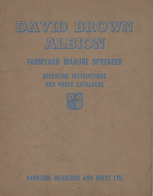 David Brown Albion Ms1 Ms2 Ms3 Manure Spreader Parts & Operators Manual