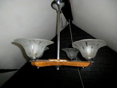 French Art Deco Wood & Chrome 4 Light Chandelier Degue?