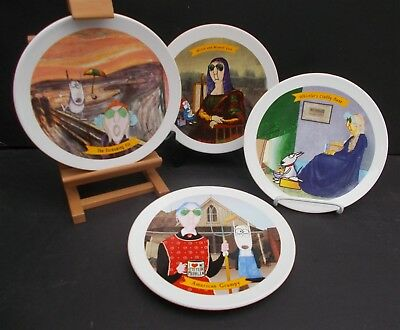 Hallmark Maxine Fine Art Parody Dessert Plates Set of 4 Mona Lisa The Scream Etc