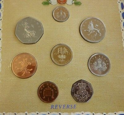 1990 Uncirculated UK Year set BU 8-coin Royal Mint pack £1 to 1p incl large 50p