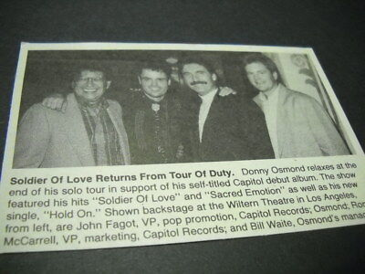 DONNY OSMOND backstage at the Wiltern in L.A. 1990 music biz promo pic with text