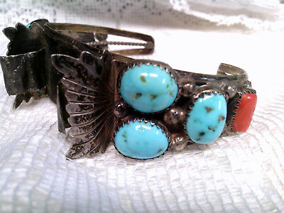 vtg DAINTY TURQUOISE AND CORAL NATIVE MADE WATCH CUFF STERLING