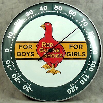 """Red Goose Shoes For Boys Girls Thermometer 12"""" Round Glass Dome Sign"""
