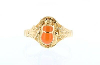22k Yellow Gold Size 9 Egyptian Scarab Beetle Spessartine Orange Garnet Ring