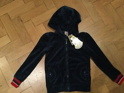 "NWT Juicy Couture New & Gen. Girls Age 8 Blue Velour Hoody With ""J"" Zip Pull"
