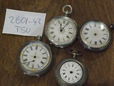 4 Superb Solid Silver  Antique Fob / Pocket Watches 1 Job Lot