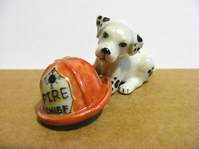 Northern Rose Retired Puppy With Fireman's Hat Miniature Figurine Dalmatian Dog