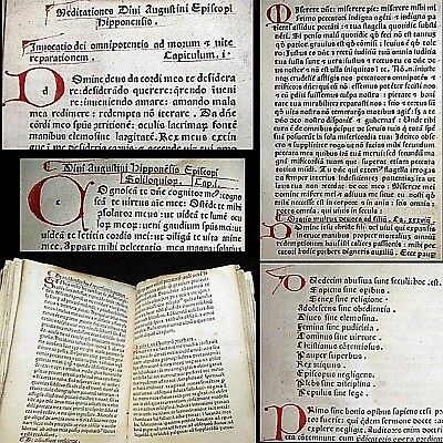 1480 Incunable Saint Augustine Hippo St Bernard God Bible Manuscript Meditations