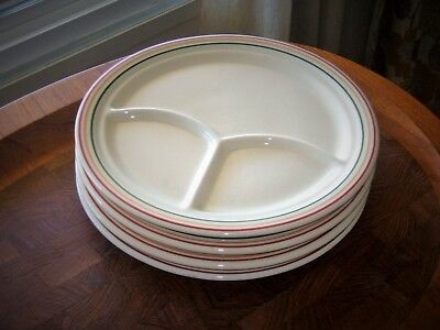 """Iroquois Rainbow Grill Plates 4Pc Diner Divided Dish Pendleton Stripe Cafe 9.5"""""""