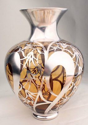 Antique Art Nouveau Sterling SIlver Overlay on Amber Glass Large Vase Beautiful!