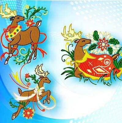 BEAUTIFUL REINDEER 10 MACHINE EMBROIDERY DESIGNS CD 3 sizes CHRISTMAS DESIGNS