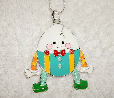 HUMPTY DUMPTY Inspired Large Charm NECKLACE Snake Chain