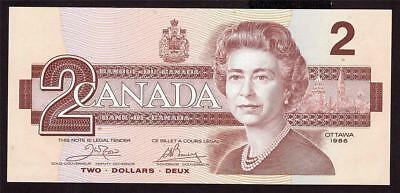1986 Canada $ Two Dollar banknote AUG 8984365 Crow Bouey BC-55a CH UNC63