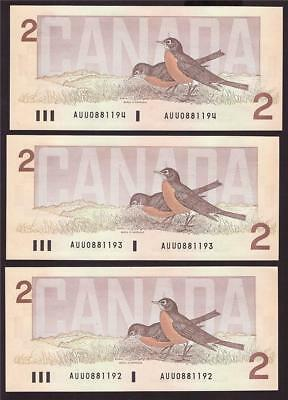 3X 1986 Canada $2 Two Dollar consecutive notes Theissen AUU 0881192-4 UNC63