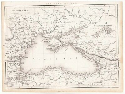 1849 The RUSSIAN - TURKISH War The BLACK SEA and COUNTRIES The Seat of War MAP