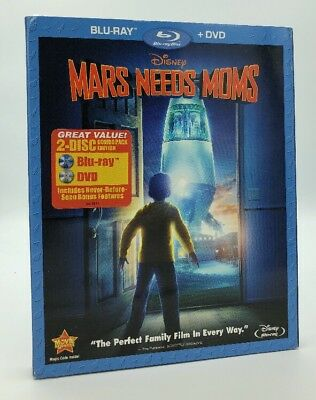 Mars Needs Moms (Blu-ray+DVD, 2011, 2-Disc Set) NEW w/ Slipcover