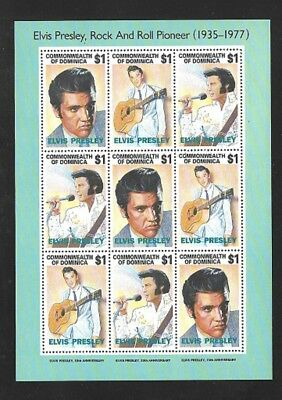 DOMINICA Scott 1544 (3 strips of 3 #a-c) Elvis Presley MNH F-VF