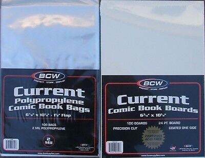 (100) Bcw Current / Modern Comic Book Size Bags & Backing Boards - Free Shipping