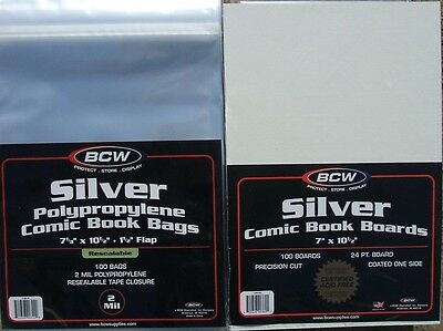 (50) Bcw Resealable Silver-Age Comic Book Bags & Backing Boards - Free Shipping