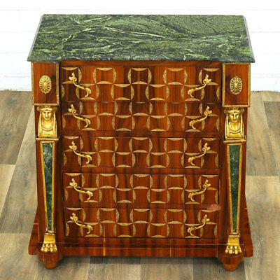 5-DRAWER COMMODE w/ EGYPTIAN DESIGN (after NAPOELON ERA), KOMMODE + MARMOR grün